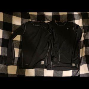 2 NIKE PRO COMBAT Compression Shirts BLK Boys S